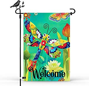 HMHN Welcome Vivid Color Dragonfly Dream Spring Garden Flag Vertical Double Sided 12.5 x 18.5 inch Burlap Yard Outdoor Decor