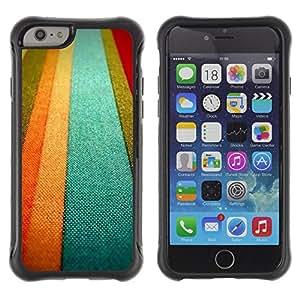 WAWU Funda Carcasa Bumper con Absorci??e Impactos y Anti-Ara??s Espalda Slim Rugged Armor -- teal textile texture orange pastel tones lines -- Apple Iphone 6