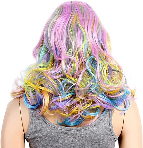 Lady Wig Coloridas Pelucas del Arco Iris Flequillo Completo ...