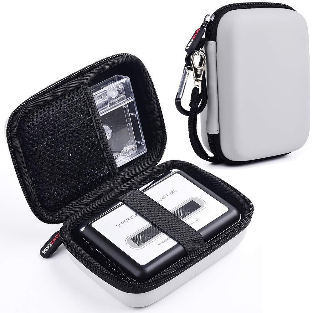 Étui de Transport Rigide pour convertisseur de Lecteur de Cassettes USB, convertisseur MP3, Pochette de Porte-baladeur Portable Convient également à la Cassette, au câble USB, aux écouteurs