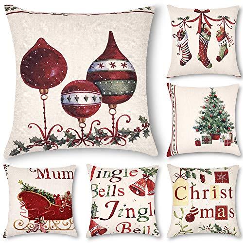Decorsurface Pack of 6 Christmas Pillow Covers 18x18, Decorative Throw Pillow Covers for Christmas, Home Decorations Pillow Covers Set for Couch Sofa Bedroom, car (Set Pillows Sofa)