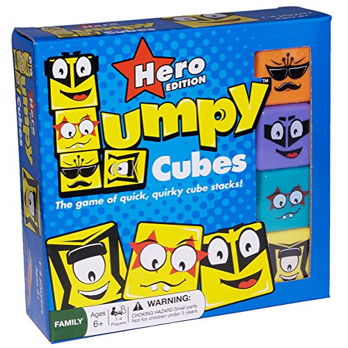 RoosterFin Lumpy Cubes Family Board Game – Hero Edition – Teacher Created Quick Stacking, Pattern Matching Fun with Emoji-Like Faces and Picture Cards for All Ages, Kids and Adults 6 Years and Up