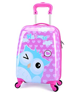 db08020a4 Amazon.com | Girls Suitcase Hardshell Spinner Wheels - Kids Luggage 18 inch  Carry On Owl Travel Trolley LeLeTian | Kids' Luggage
