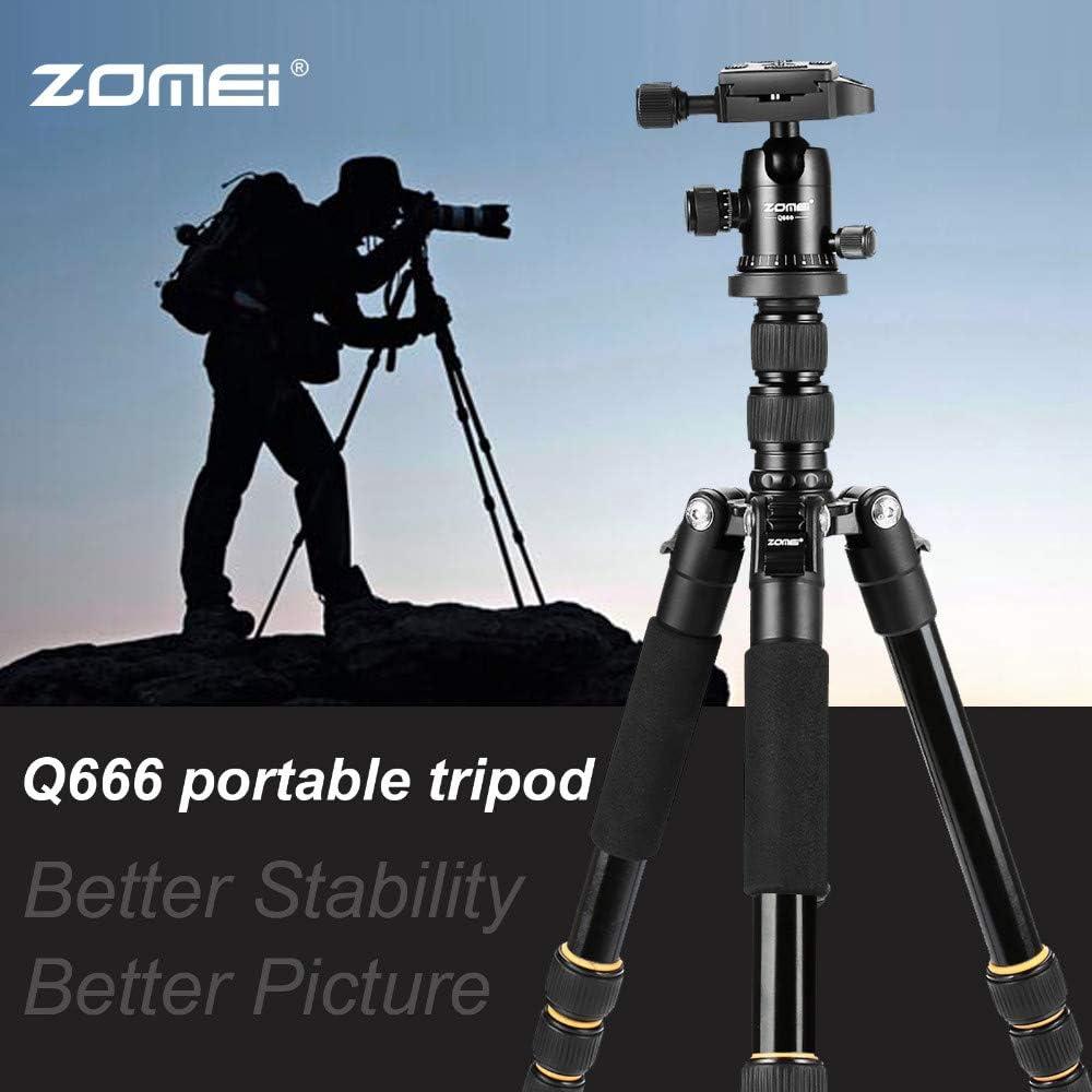 ZM Lightweight Portable Q666 Professional Travel Camera Tripod Monopod Aluminum Ball Head Compact for Digital SLR DSLR Camera