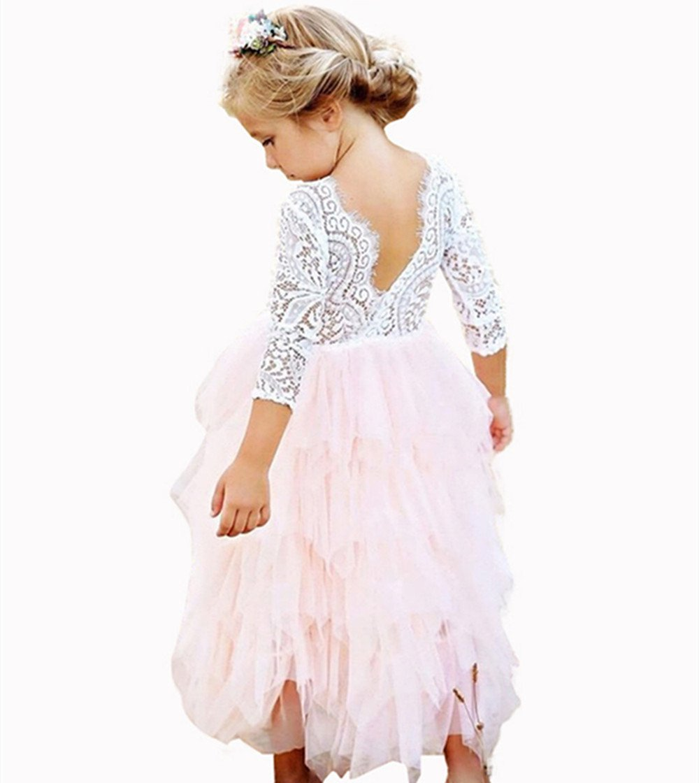 Little Girls Lace Backless Dress Baby Flower Girl Princess Lace Back Tutu A-line Party Dresses (Pink Long Dress, 2-3Years) by Titanos (Image #2)