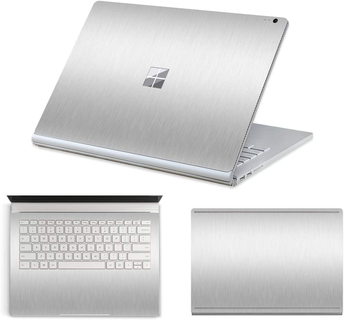 "MasiBloom® 3 in 1 Laptop Sticker Decal for 15"" Microsoft Surface Book 2 (2017 Released) Anti Scratch Protective Cover Skin (for 15"" Surface Book 2, A- Wire Drawing Silver)"