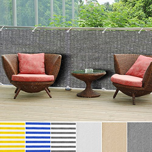 Patio Screen Panels - casa pura Balcony Privacy Screening Cover | Screen Cover for UV Protection - 3' x 16'4 - Gray | Multiple Colors Available