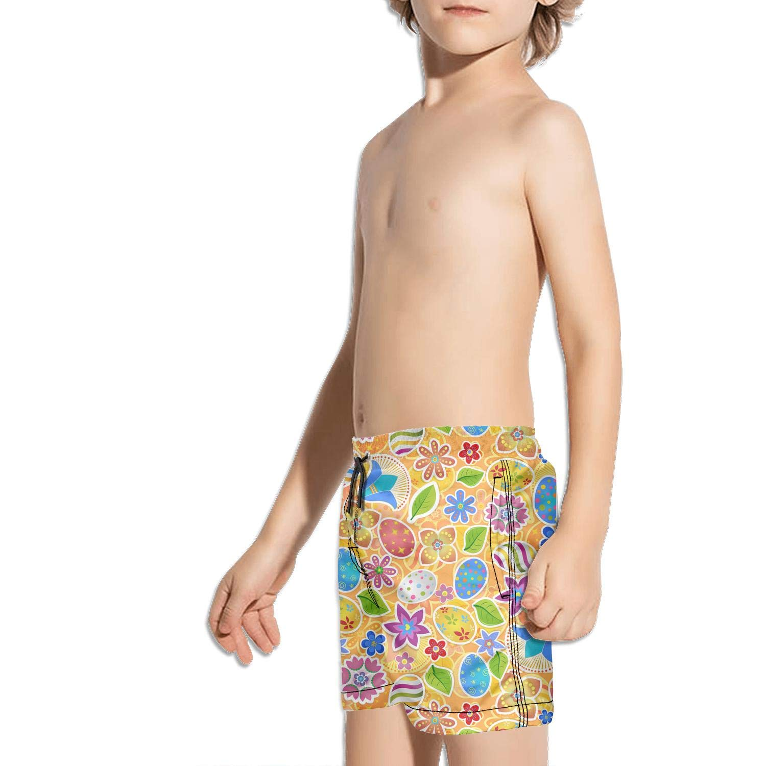 Colorful Vintage Easter Eggs Swim Boys Beach Quick Dry Core Shorts with Pockets