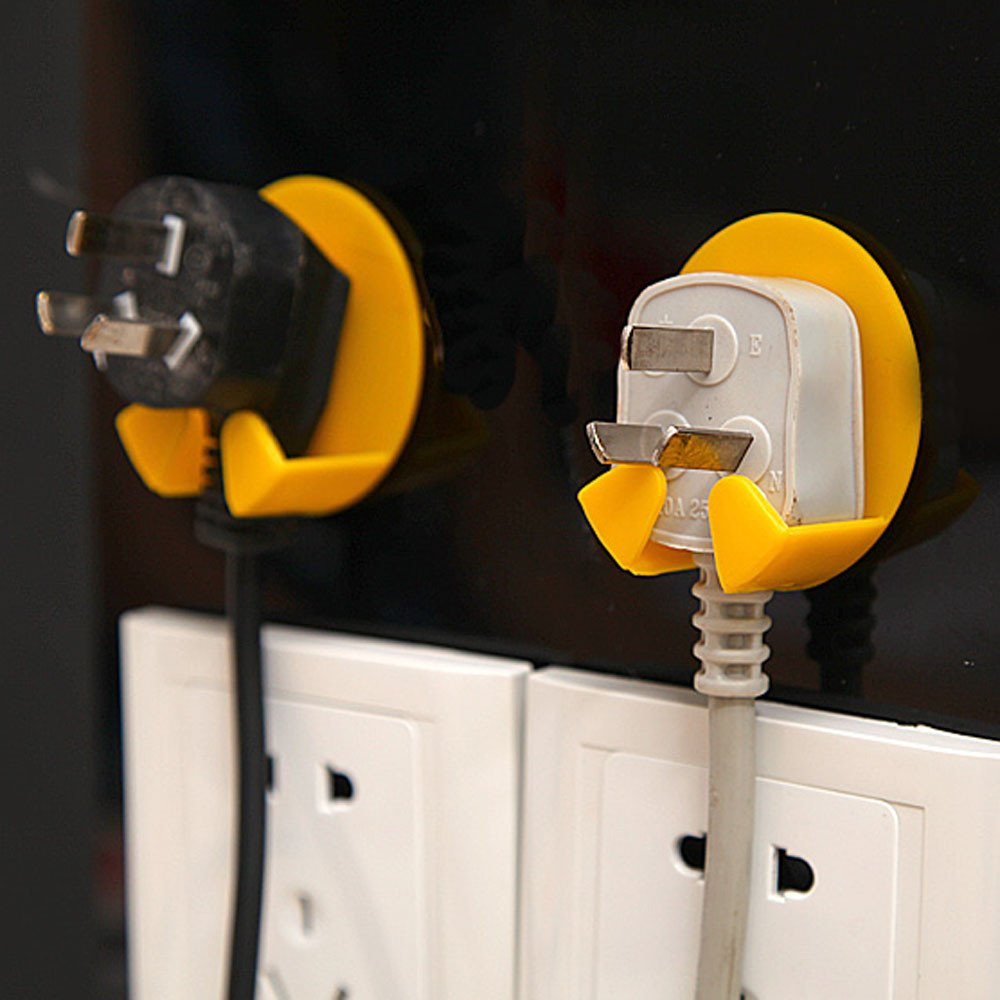 Weiliru Adhesive Power Plug Line Hook,Sticking Wall Hanger, Hook for Shaving Razor Plug keysTowel Robe Kitchen Utensils