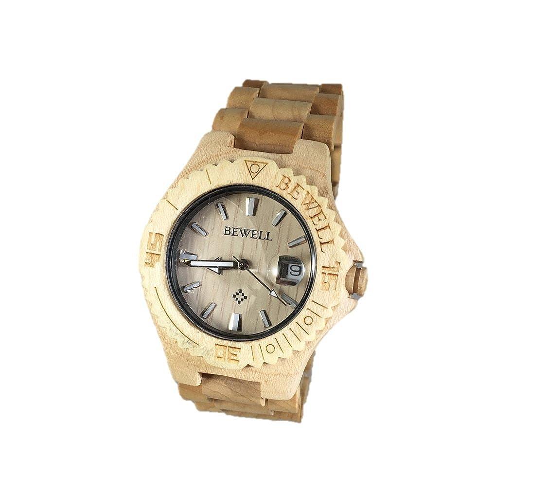 Bewell - Reloj madera maciza calendario reloj de pulsera ajustable y respetuoso con el medio ambiente con arce acabado w020 C: BeWell Watches: Amazon.es: ...
