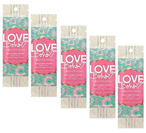 5 Packets of Love Boho HAUTE HIPPIE Bronzer Tanning Lotion by Swedish Beauty - Vibe Bronzer
