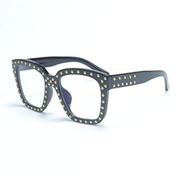 f593d838312 Amazon.com  MINCL Large Oversized Square Retro Style Clear Lens Eyewear  Sunglasses (black-clear