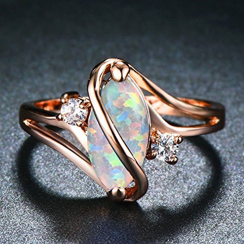 Ploymanee Jewelry Marquise Cut White Fire Opal S Shape Ring Rose Gold Womens Wedding Band Size6-10 7
