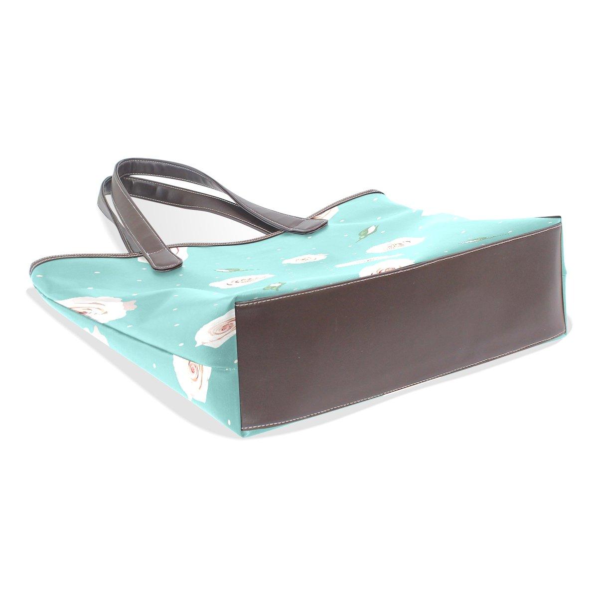 Ye Store White Rose Lady PU Leather Handbag Tote Bag Shoulder Bag Shopping Bag