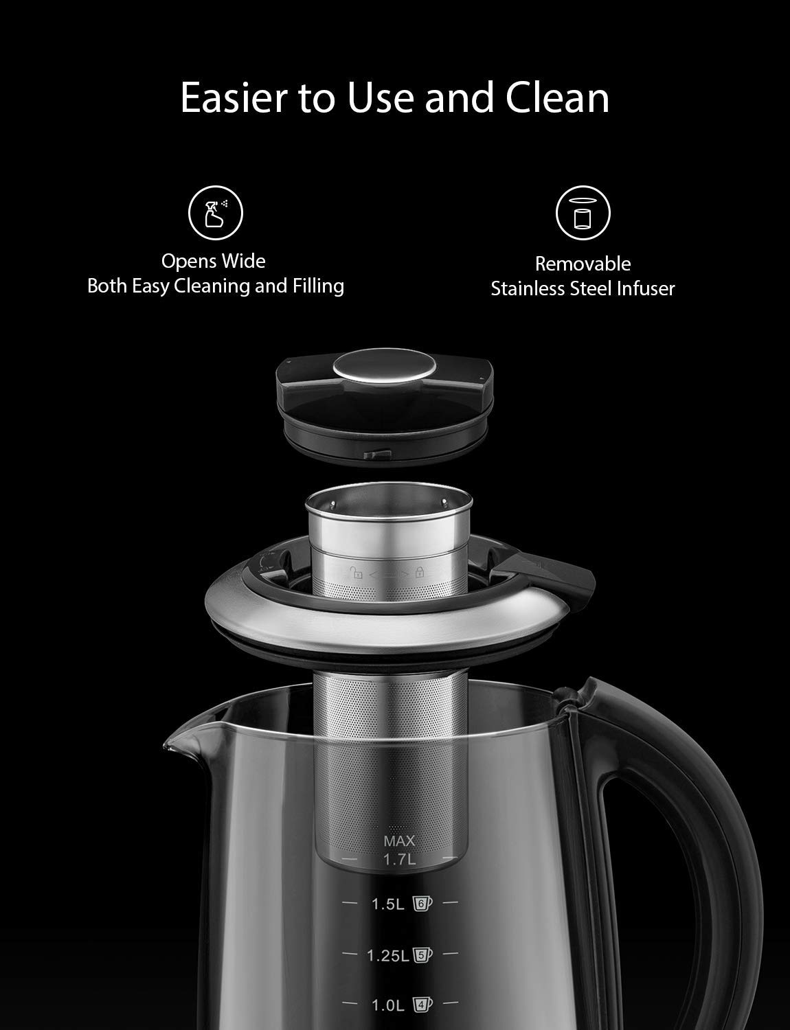 Willsence Electric Kettle, Electric Tea Kettle Stainless Steel Glass Boiler Hot Water Tea Heater with Temperature Control LCD Display, Removable Tea Infuser, 1.7 L, 1200W by Willsence (Image #7)