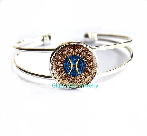 Amazon.com: Piscis Zodiaco pulsera, pulseras, joyas de ...