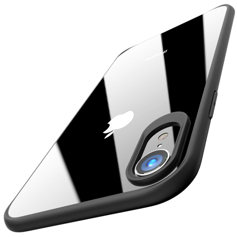 TOZO Funda para iPhone XR, 6,1 Inch (2018) PC + TPU Hí brido Ultrafino [Ajuste Proteger Duro Caso Absorció n de Golpes Parachoques Traseros Transparente Protective Carcasa Case Cover [Borde Negro]