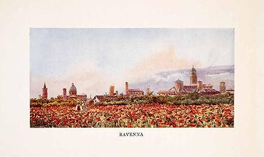 1911 Print Ravenna Italy Landscape Flowers William Wiehe Collins Cityscape