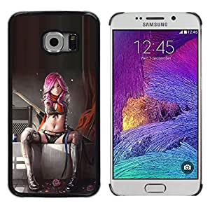 Planetar® ( Sexy Pink Suicide Lingerie Woman Babe ) Samsung Galaxy S6 EDGE / SM-G925 / SM-G925A / SM-G925T / SM-G925F / SM-G925I Fundas Cover Cubre Hard Case Cover