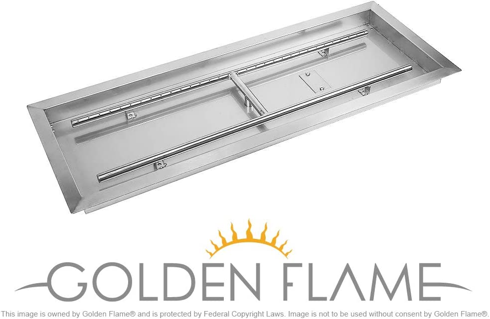 Golden Flame 36 x 12 Rect Drop-in Fire Pit Pan w H-Burner Installed 304 Series SS
