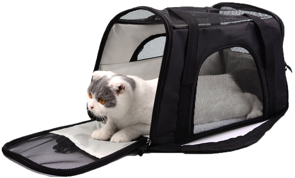 Lepet Fabric Cat Carrier Airline Approved Soft-Sided Pet Carrier Perfect for Small Dogs and Cats with Fleece Bedding and Safety Lock, Bonus Travel Bowl