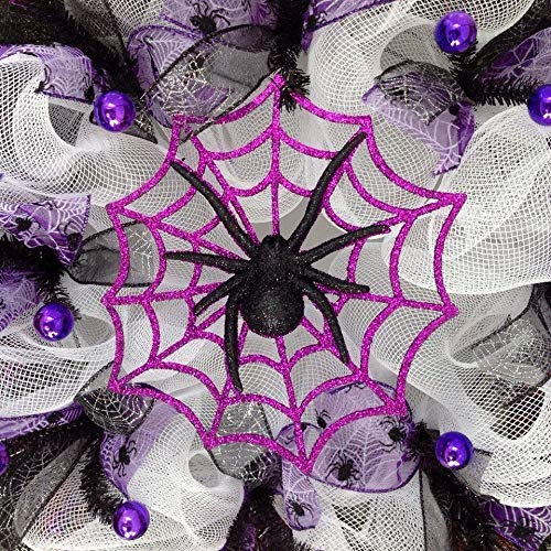 Glittering Purple Spider Web Halloween Handmade Deco Mesh Wreath