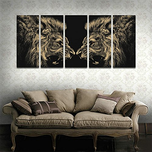 Roar Picture Lion (CyiArt 5 Panels Wall Art Painting Roar Lion Pictures Prints On Canvas Animal The Picture Decor Modern Decoration Print For Bathroom Bedroom Home Decorations (59