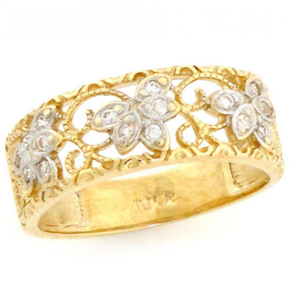 14k Solid Yellow Gold Filigree Leaf Design CZ Band Ring