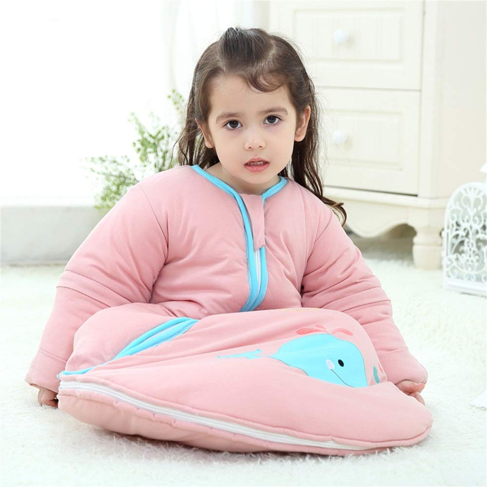 EsTong Unisex Baby Detachable Sleeves SleepSack Cartoon Whale Wearable Blanket Cotton Nest Nightgowns Sleeping Bag Blue 2.5Tog M