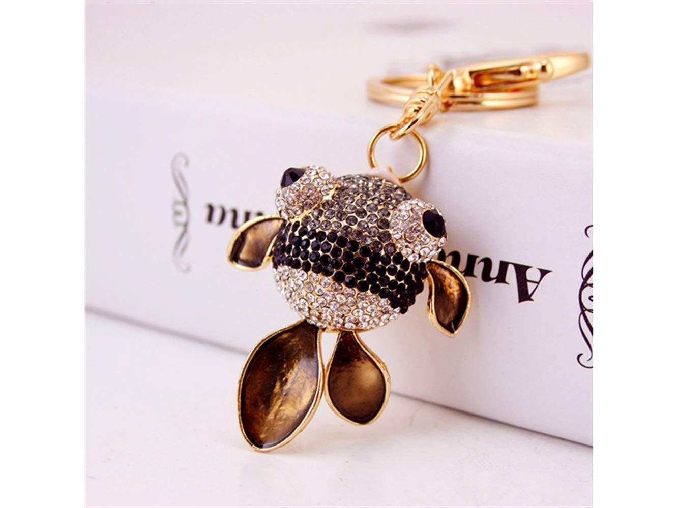 Car Keychain, Cute Diamond Goldfish Keychain Animal Key Trinket Car Bag Key Holder Decorations(Black) for Gift