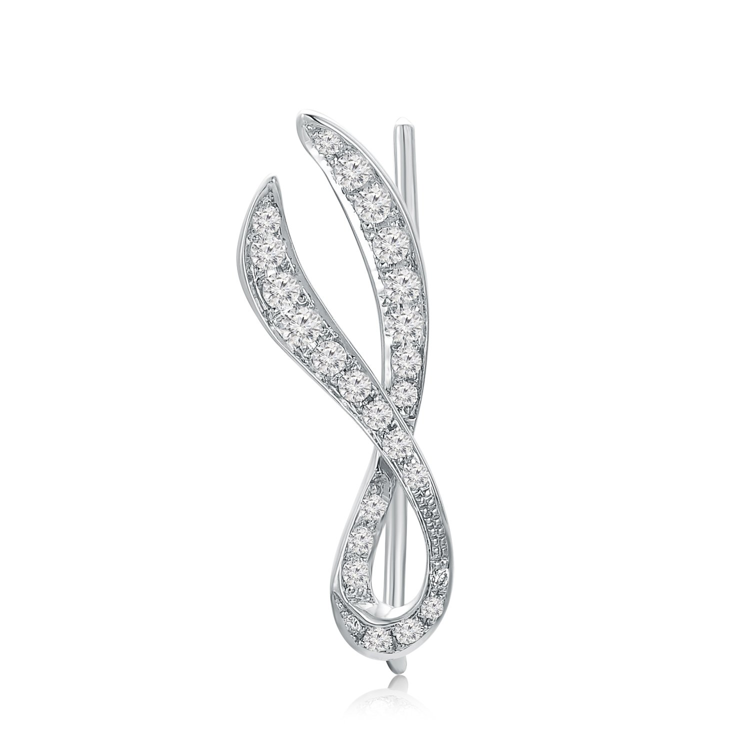 MaBelle 18K White Gold Diamond Pave Style Ribbon Single Ear Cuff / Ear Warp (1/10 cttw)