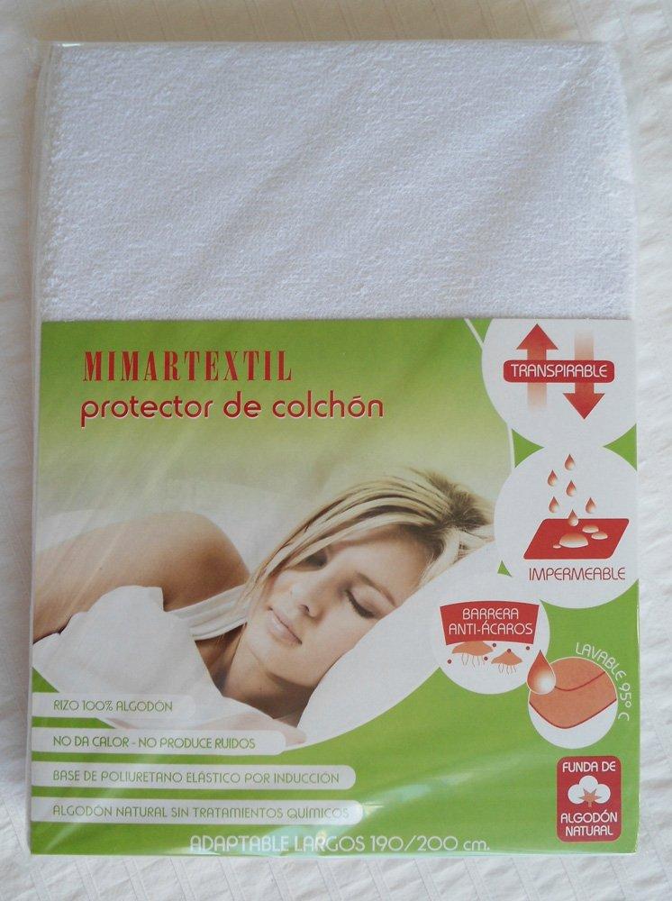 Sabanas Blancas Protector de colchón transpirable e impermeable. Medidas de colchón 90x200x25: Amazon.es: Hogar