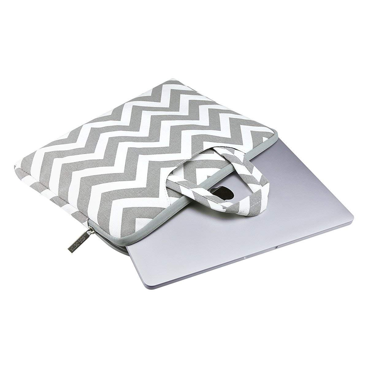 MOSISO Laptop Briefcase Handbag Compatible 13-13.3 Inch MacBook Pro, MacBook Air, Notebook Computer, Chevron Style Canvas Fabric Carrying Sleeve Case Cover Bag, Gray by MOSISO (Image #2)
