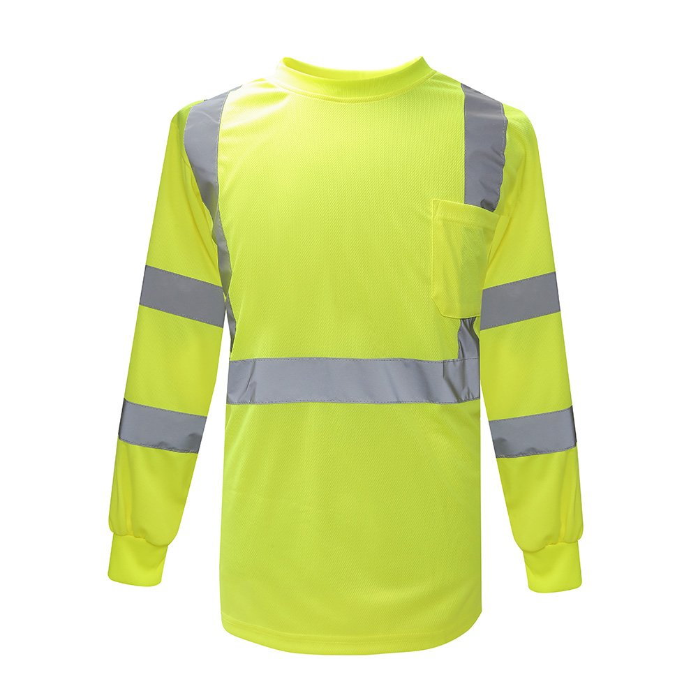 AYKRM Hi Vis T Shirt Reflective Safety Lime Long Sleeve Safety wear Shirt high Visibility Shirt Size XL