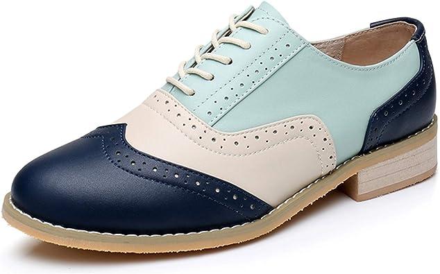 Zapatos Oxford de Las Mujeres Zapatos Planos de Cuero