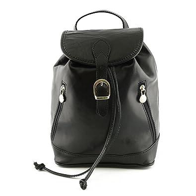Bolso De Espalda En Piel Color Negro - Peleteria Echa En Italia - Bolso Espalda: Amazon.es: Zapatos y complementos
