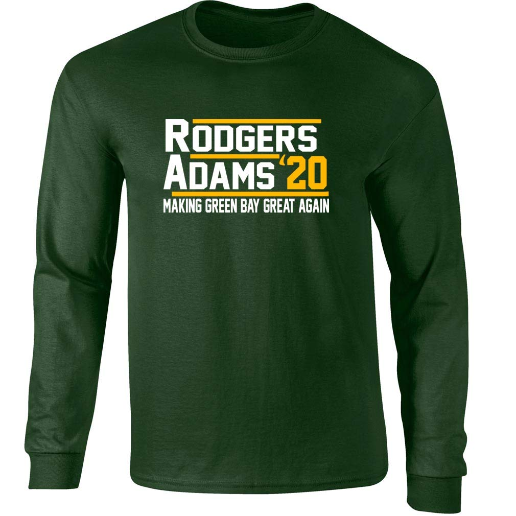 meet 15e12 8495c Long Sleeve Forest Green Bay Rodgers Adams 2020 2020 T-Shirt ...