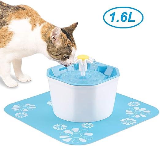 KOOPAO Pet Cat Dispensador de Fuente de Agua,1.6L Mascotas Filtros ...