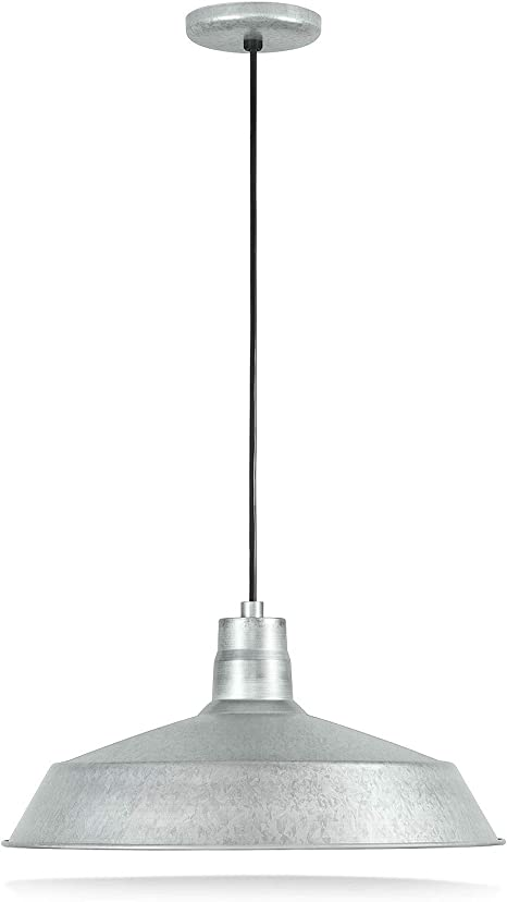 Amazon Com 17 Inch Industrial Galvanized Pendant Barn Light Fixture With 10ft Adjustable Cord Ceiling Mounted Vintage Hanging Light Fixture For Indoor Use 120v Hardwire E26 Base Led Compatible Ul Listed Home Improvement