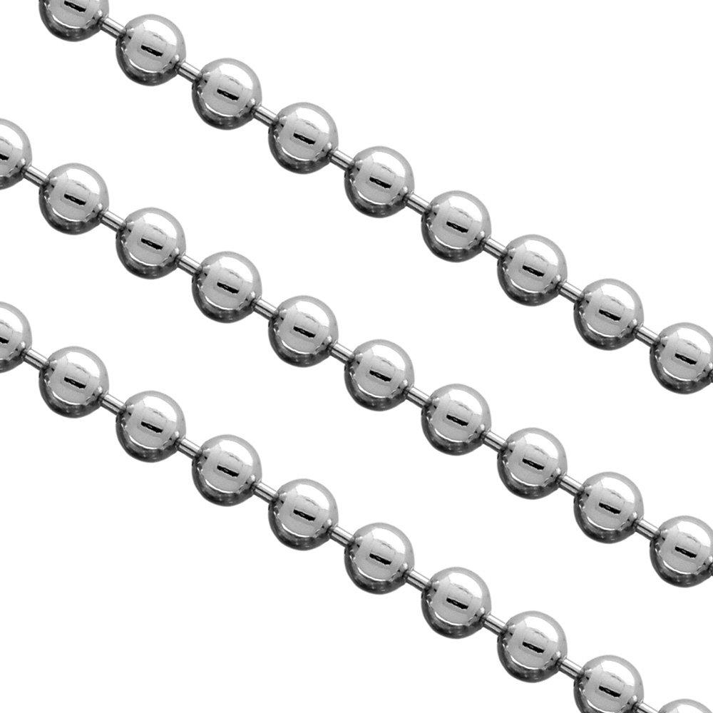 3mm Stainless Steel Pallini Bead Ball Chain Dog Tag Necklace (18 inches)