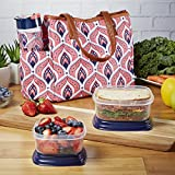 Fit & Fresh Saint John Insulated Lunch Bag Kit with Reusable Container Set and Water Bottle (Coral Deco Tile)