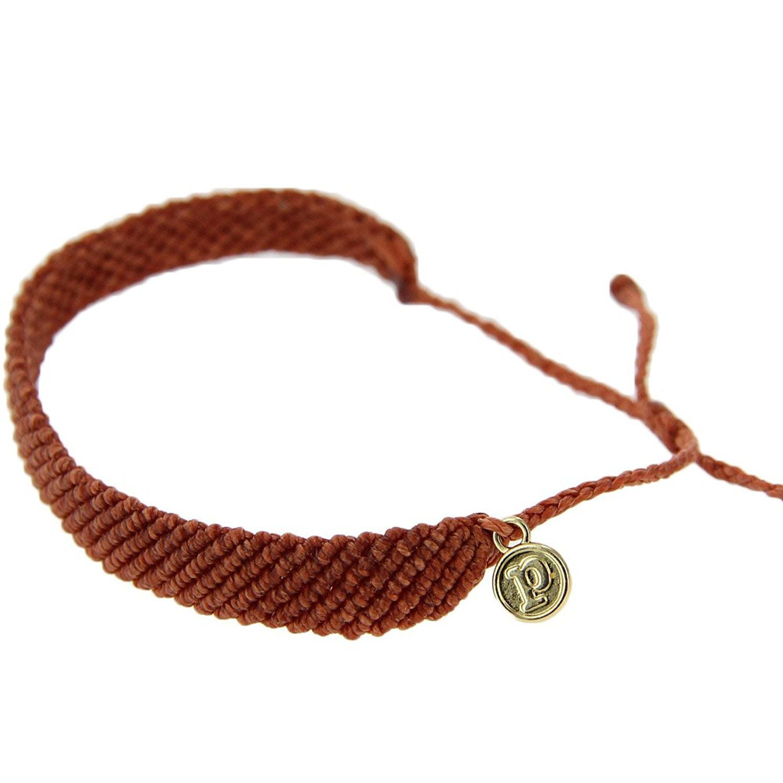 Pura Vida Adobe Flat Braided Bracelet - Plated Brand Charm, Adjustable Band - 100% Waterproof