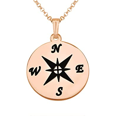 """8356860ab HACOOL Personalized 18K Rose Gold Plated Compass Necklace Pendant Circle  Black Jewelry 16""""-18"""""""