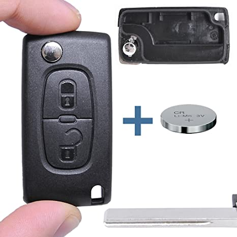 Llave Carcasa Llave Mando a distancia Auto Llave 2 Teclas en blanco Hu83 + Batería
