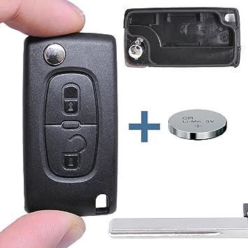 – Llave Carcasa Llave Mando a distancia Auto Llave 2 Teclas en blanco Hu83 + Batería para Citroen/Peugeot/Fiat