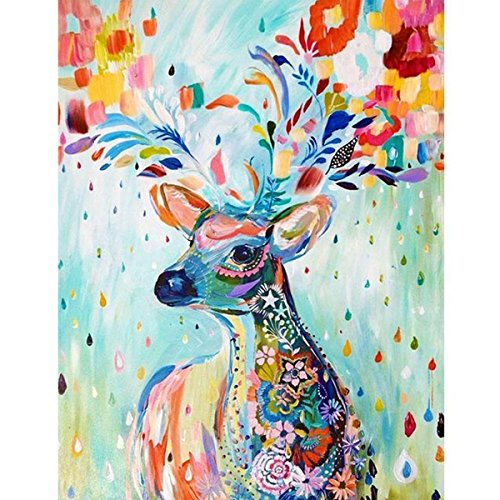 "eGoodn Diamond Painting Art Kit DIY Cross Stitch By Number Kit DIY Arts Craft Wall Decor, Full Drill 15.8"" By 20.9"", Colorful Deer, No Frame by eGoodn"