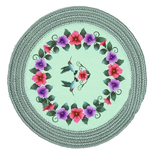LOCHAS Round Rug Braided Carpet 1.3' x 1.3' Natural Fiber Hand Woven Reversible Solid Area Rug Welcome Mat for Living Room Bedroom Kitchen Hallways Floor Stairs Rugs, Green Flower ()