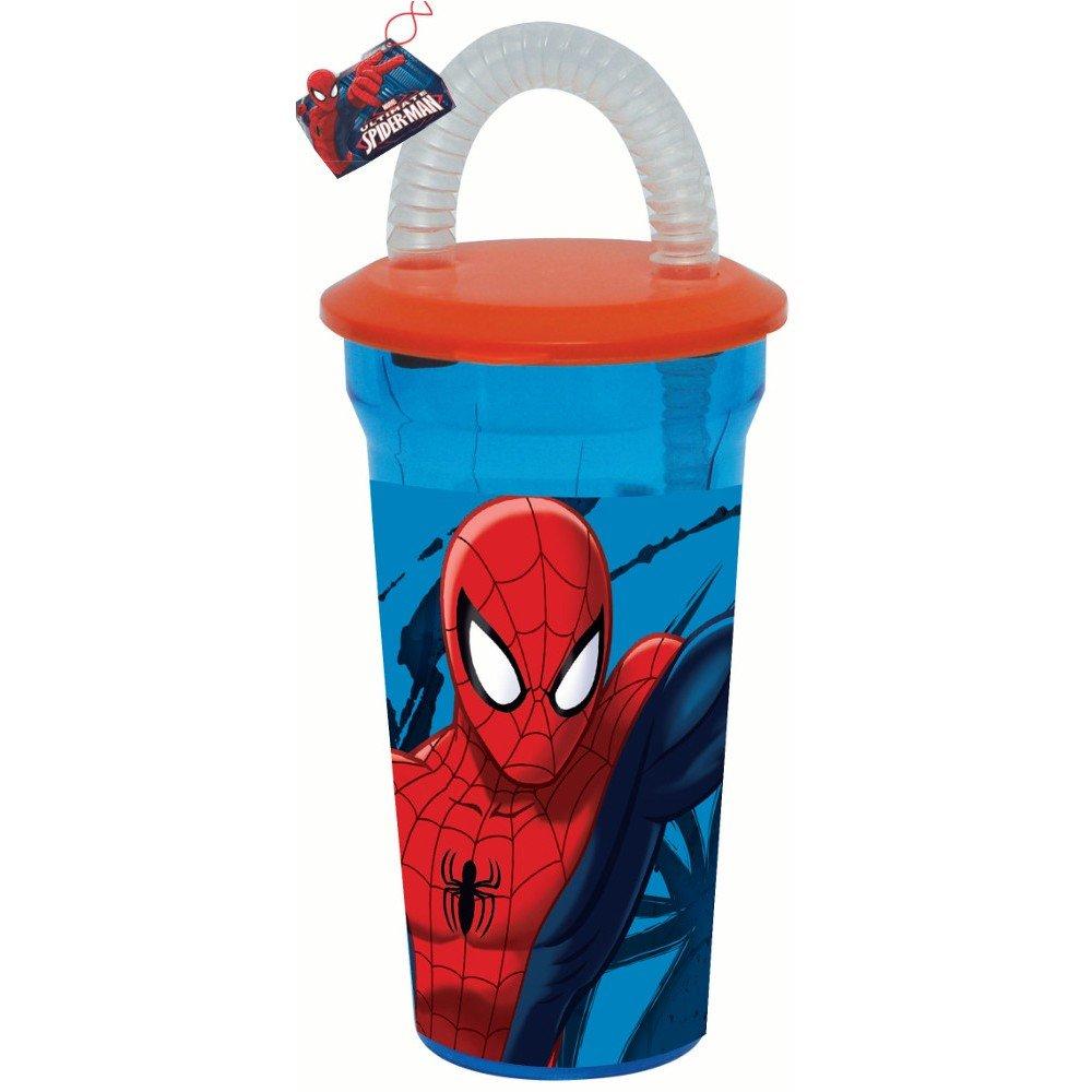 GUIZMAX Gobelet + Paille Spiderman Disney Verre Plastique Enfant