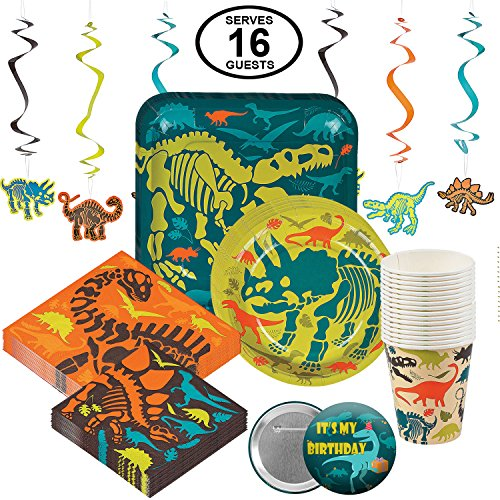 Dinosaur Dino Birthday Party Supplies Disposable Tableware Set for 16 Large Party Pack Includes Dinner Plates, Dessert Plates, Large and Small Napkins, Cups and Hanging -