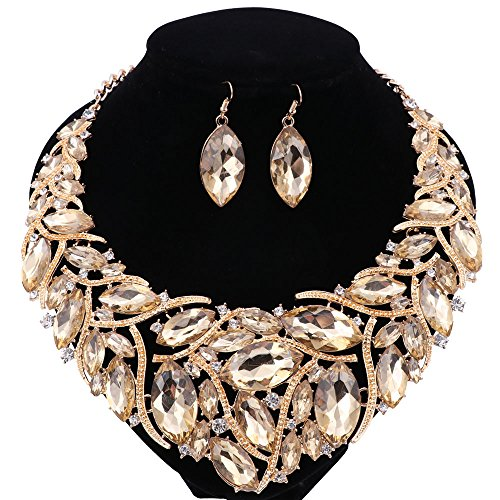 African Beads Jewelry Sets Women Bridal Crystal Statement Necklace Earring Jewelry Sets (Champagne)